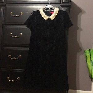 Betsey Johnson black dress with pearl collar NWOT
